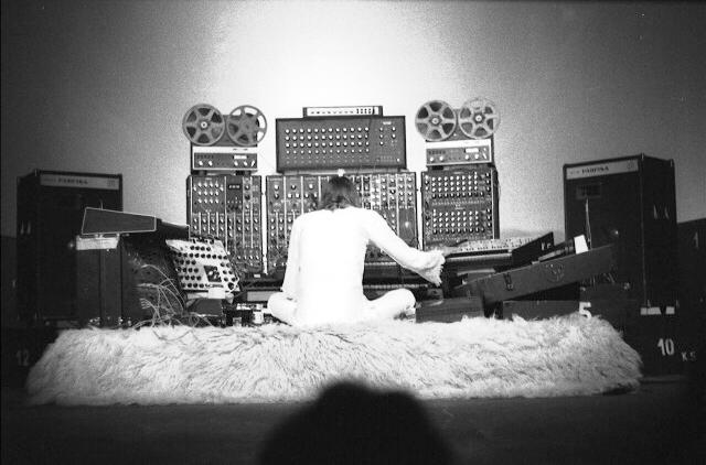 Klaus Schulze during this concert at the 5th Ocober 1976. Copyright: Andreas Liebold